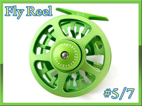 フライリール #5/7 ライトグリーン 綺麗な緑色 ディスクドラグ付