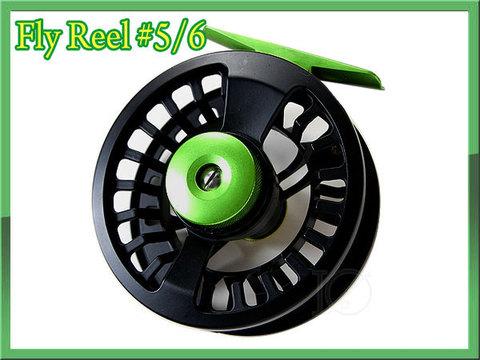 フライリール #5/6 ブラック&グリーン 黒 ディスクドラグ付