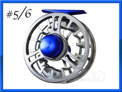 フライリール #5/6 アルミマシンカット シルバー&ブルー Fly Reel