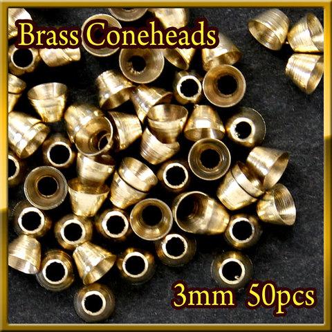 ブラス ビーズ コーンヘッド形状 Gold 50個セット Brass Beads 3mm Coneheads