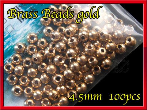 ブラス ビーズ Gold 100個セット Brass Beads 4.5mm