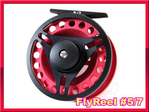 フライリール #5/7 Red Black ミッドアーバータイプ Fly Reel 黒赤