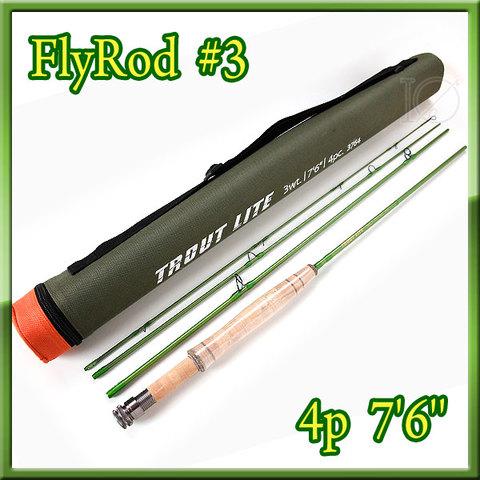 フライロッド #3 Fly Rod ロッドケース付 綺麗なグリーン7ft 6in