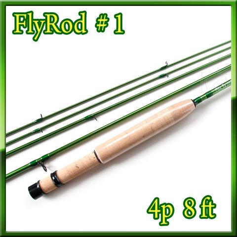 フライロッド #1 Fly Rod スペアティップ付 グリーン 8ft 4ピース