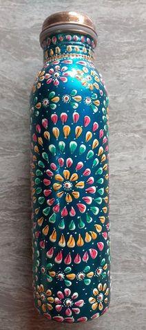 純銅製の青系のカラフル水筒