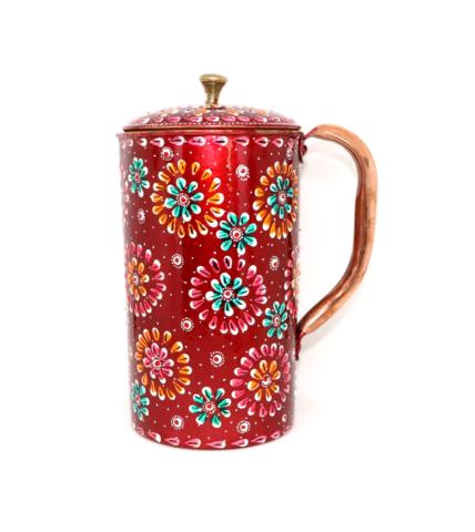 純銅製のカラフル(赤系)ジャー(1500ml)