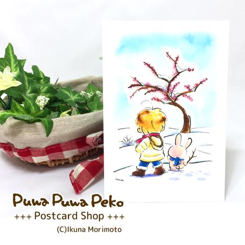 ポストカード【梅と雪道】