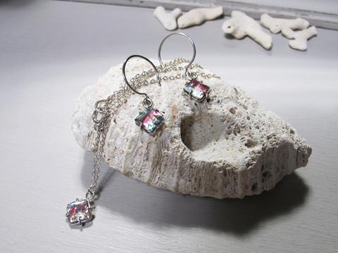 SV925.アールデコアイリスガラス ネックレス+ピアスセット