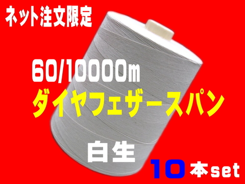 60/10000mダイヤフェザースパン白生10本set
