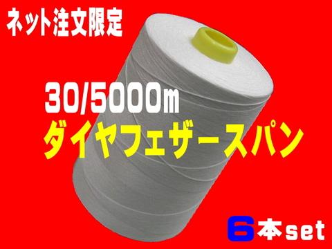 30/5000mダイヤフェザースパン白/生成6本set