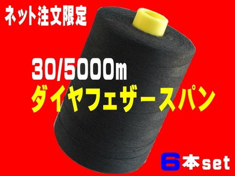 30/5000mダイヤフェザースパン黒6本set