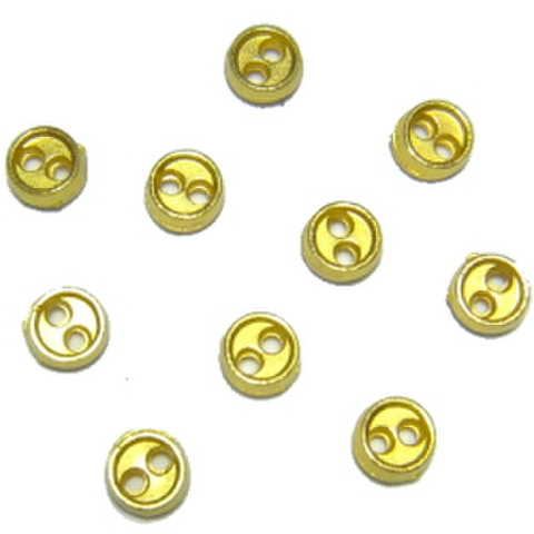 メッキボタン【2つ穴】4ミリ(ゴールド)