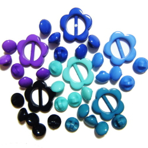 特別企画♪マーブルボタン6ミリ&フラワーバックルセット(ブルー系)
