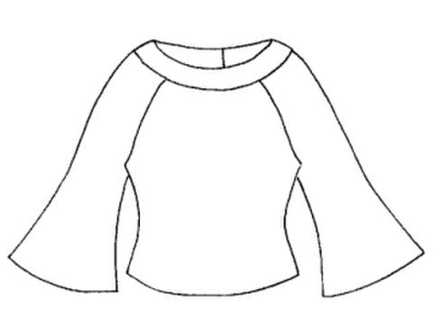 【型紙(赤)】フレア袖Tシャツ