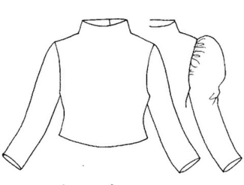 【型紙(赤)】ハイネック長袖Tシャツ