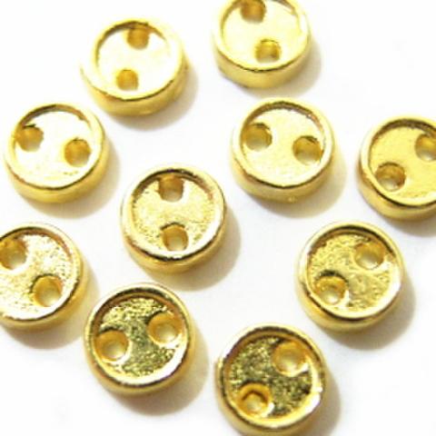 メッキボタン【2つ穴】3.8ミリ(ゴールド)