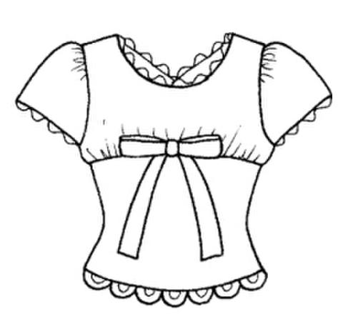【型紙(赤)】ヨーク袖山ギャザーTシャツ