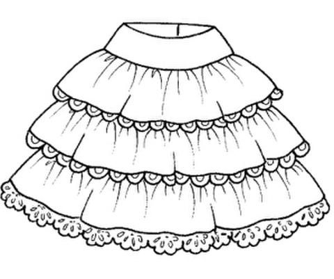 【型紙(茶)】三段フリルスカート