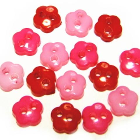 6ミリ2つ穴花ボタンセット(ピンク系)