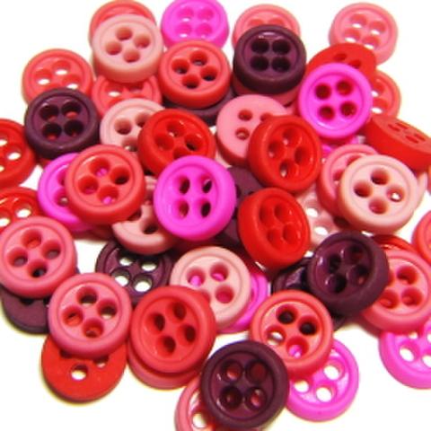 ミニボタン55ミリ【4つ穴】つやなし・60ヶセット(ピンク系)