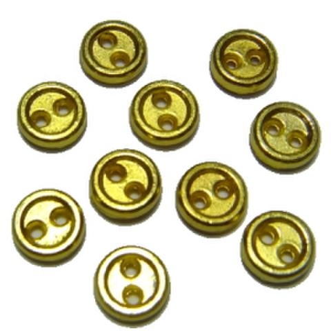 メッキボタン【2つ穴】5ミリ(ゴールド)