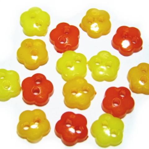 6ミリ2つ穴花ボタンセット(オレンジ系)