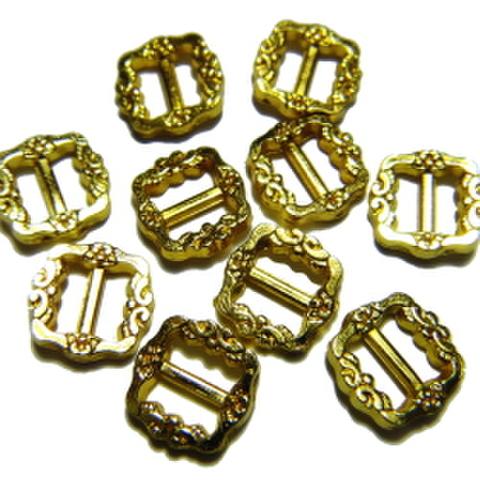 メッキバックル・爪なし【miniデコ】10ヶセット(ゴールド)