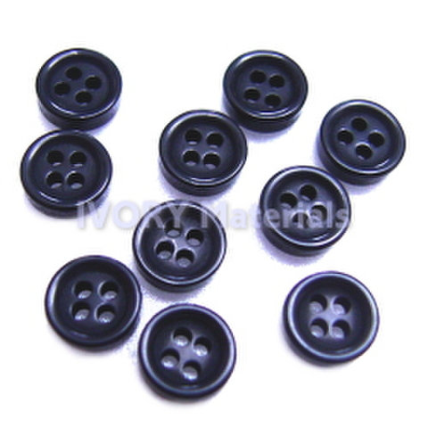 ミニボタン5.5ミリ【4つ穴】つやあり・10ヶ入(黒)
