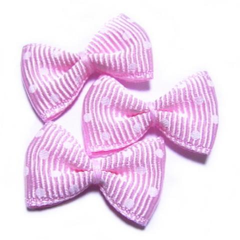 リボンモチーフ・3ヶセット【水玉】桜色×白