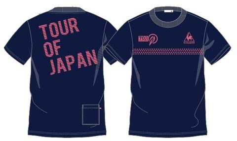 TOJバックロゴTシャツ(ポケット付)<ネイビー+リヴィングコーラルロゴ>