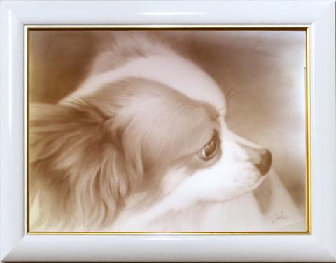 エアブラシ肖像画 高級タイプ(セピア1色 A4サイズ額)