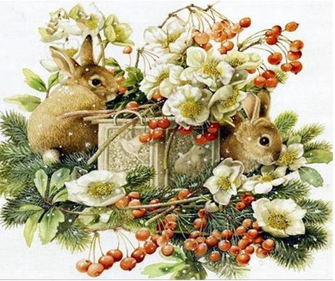 【1-60】A3Square ウサギとさくらんぼ(ウサギのギフト)