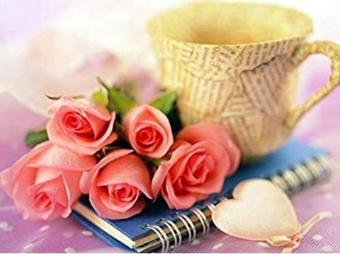 A3サイズsquare★薔薇と珈琲カップ