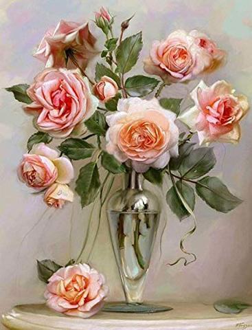 B4 花瓶の薔薇ローズ/no.2-47ダイヤモンドアート