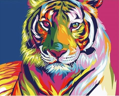 【1-94】A3square カラフルな虎