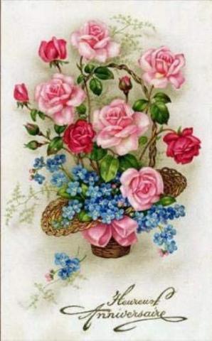 A3サイズRound 花篭のローズとブルーの花