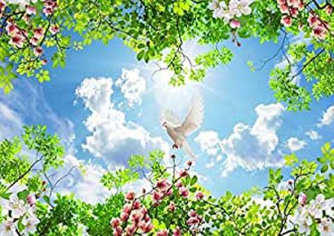 A2 春の日ざしと花 白鳩のダイヤモンド(KIC-a2-T1-241)