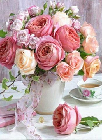 【e103】 A3サイズsquare テーブルの上の薔薇の花