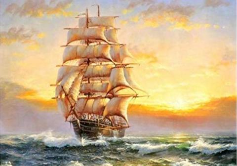 今週のお得商品!A2サイズsquare 黄金に輝く帆船