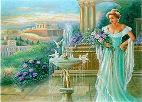 A3サイズsquare 庭園で花を摘む人 ダイヤモンドアート