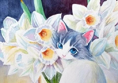 【tei09】A4サイズsquare 水仙の花とふりむく猫 ダイヤモンドアート