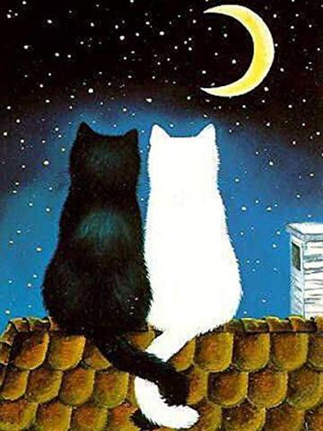 A4額付き!三日月の夜の猫カップル ダイヤモンドアート