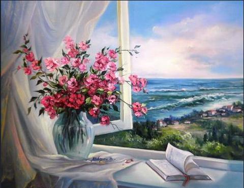 【4-43】A3サイズsquare 窓から海が見える風景