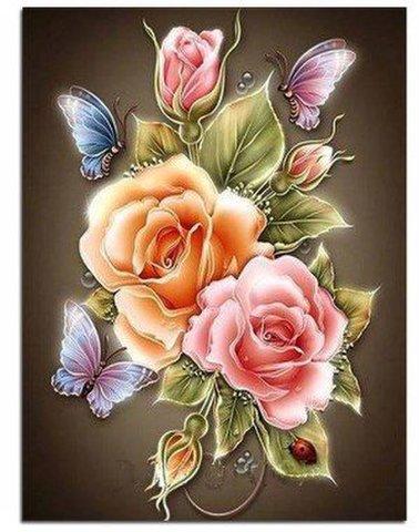 A4サイズ バラと蝶 ダイヤモンドアート