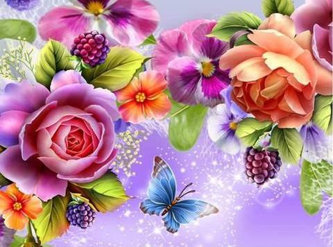 【2‐8】美しい花と蝶