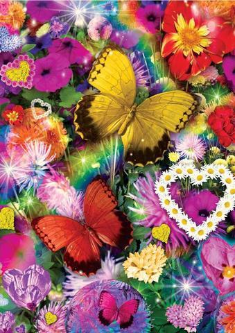 初心者応援!A4額縁付き【2-22】square カラフルな花と蝶