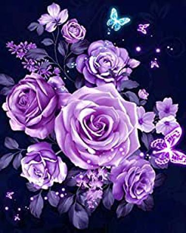 A4square パープルの薔薇/ダイヤモンドアート