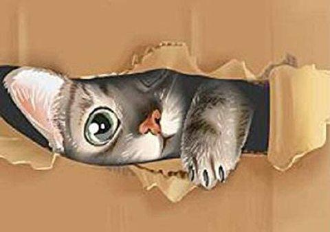 A4額付き!丸型(Round)ダンボールでかくれんぼの猫 ダイヤモンドアート(KIC-02-1-214)