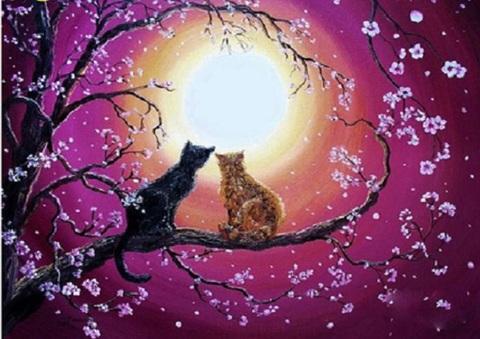 【1-158】B4サイズsquare 満月の猫カップル