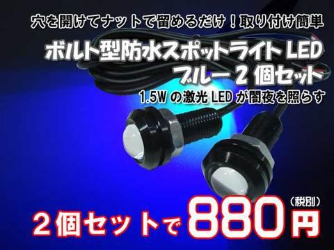 ボルト型防水スポットライトLEDブルー2個セット
